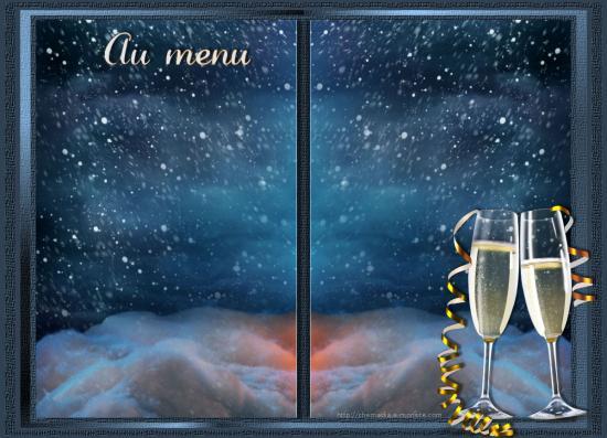 Carte bleu sapin menu vierge